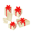 A set of gift boxes with red ribbon and cards vector