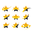 Gold star icons vector