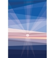 Sunrise on shore geometric abstract vector