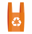 Recycling symbool in a red shopping bag vector