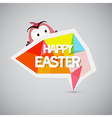 Easter background colorful label with chicken vector