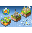 Isometric infographic geothermal energy harvesting vector