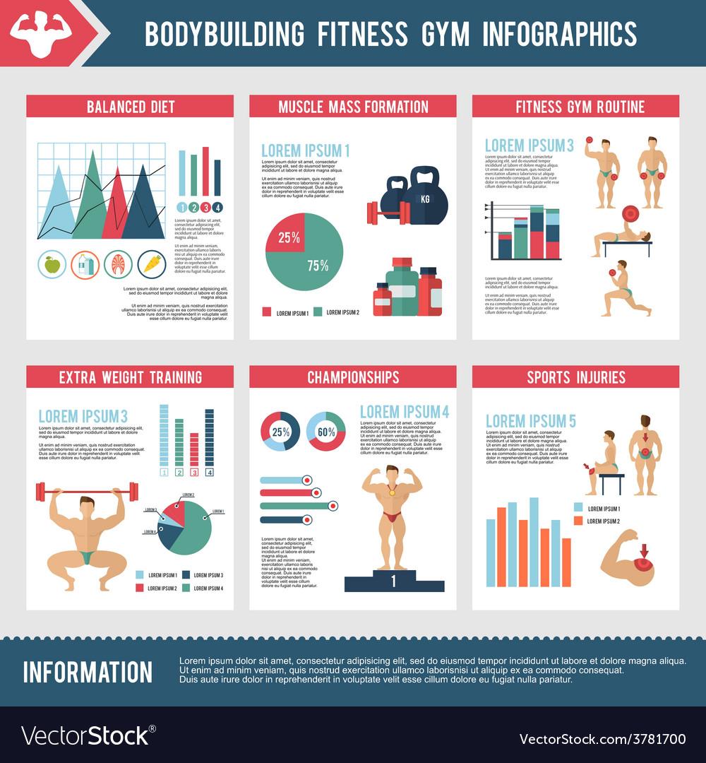 Bodybuilding fitness gym infographics vector | Price: 1 Credit (USD $1)