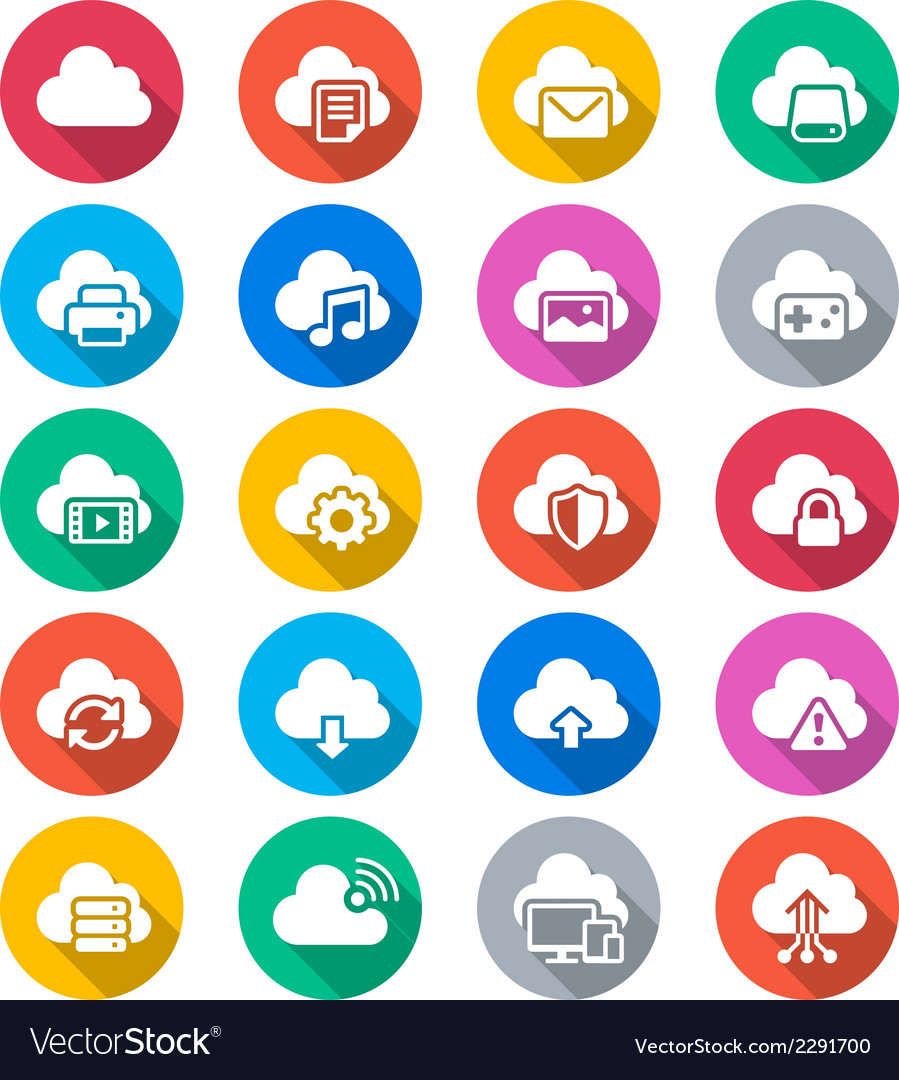 Cloud computing flat color icons vector | Price: 1 Credit (USD $1)