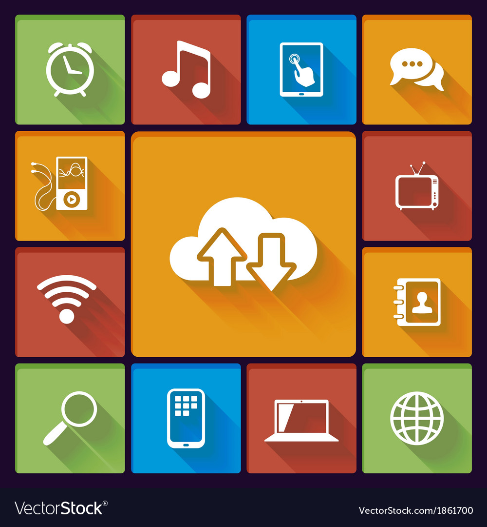 Cloud social media icons vector | Price: 1 Credit (USD $1)