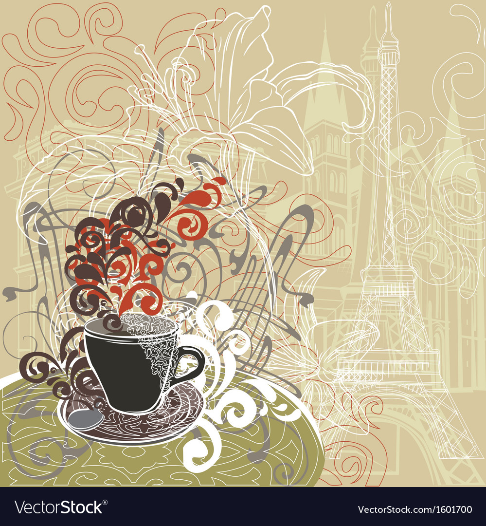 Coffee in a paris cafe vector | Price: 1 Credit (USD $1)