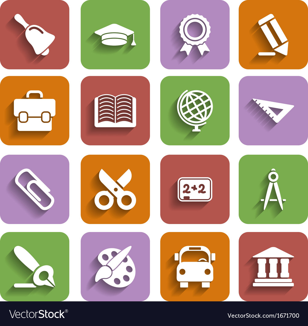 Flat school icons set with shadow vector | Price: 1 Credit (USD $1)
