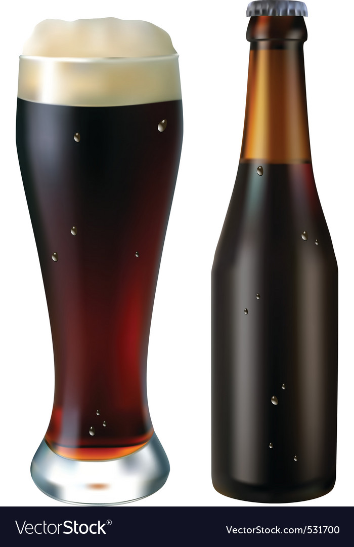 Glass and bottle of dark beer on a white backgroun vector   Price: 1 Credit (USD $1)