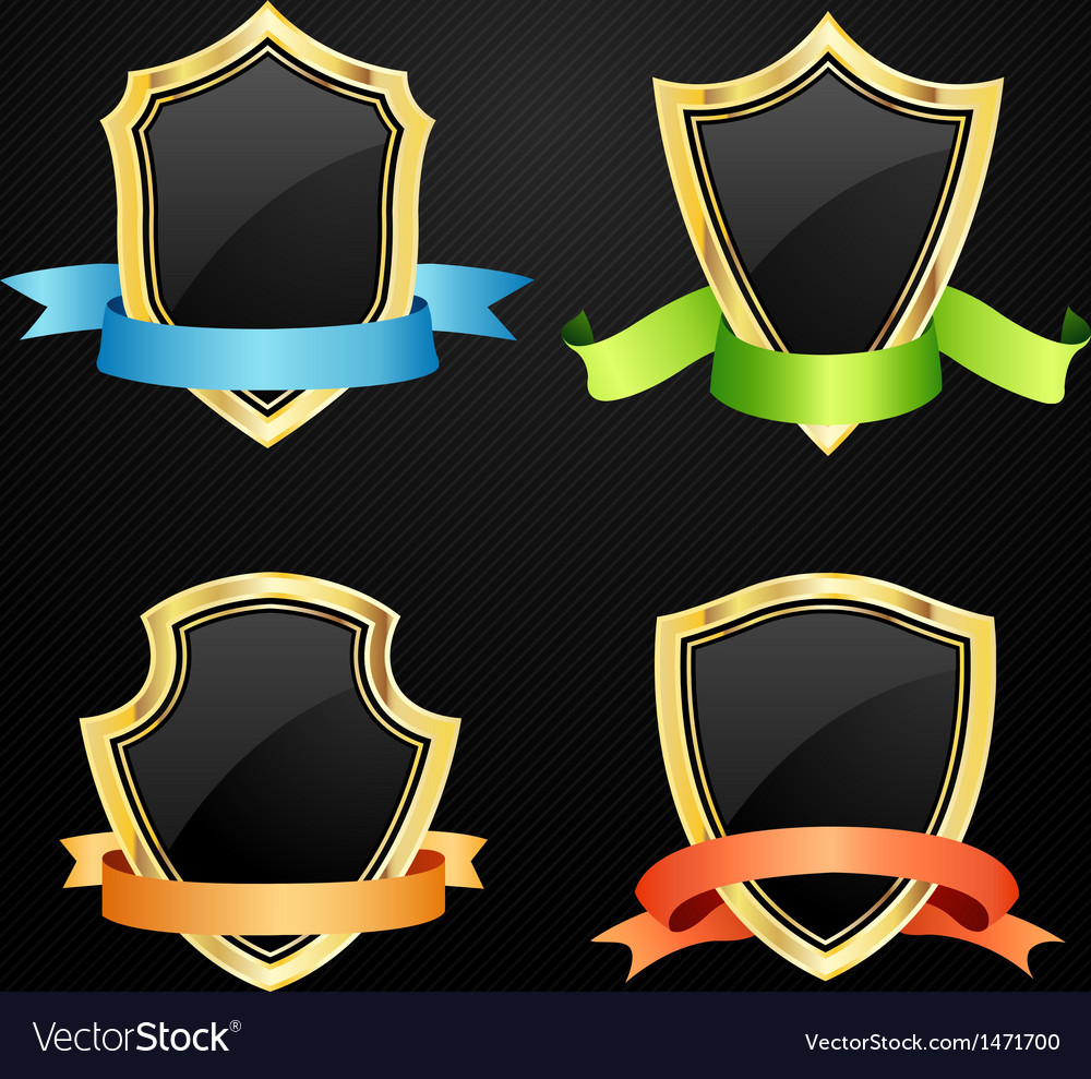 Gold and black shield with ribbon vector | Price: 1 Credit (USD $1)