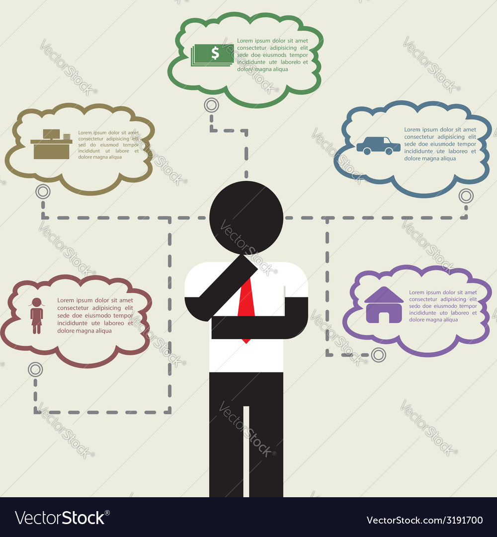 Infographic of businessman thinking about his life vector