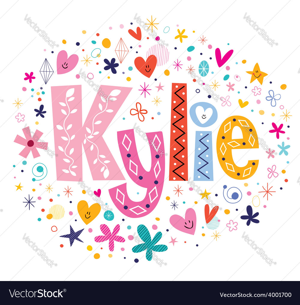 Kylie female name decorative lettering type design vector | Price: 1 Credit (USD $1)