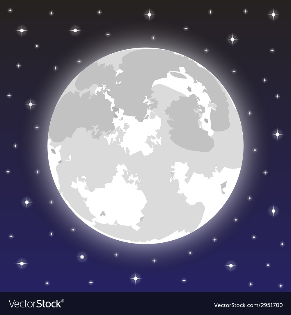 Moon in the night sky with stars vector | Price: 1 Credit (USD $1)