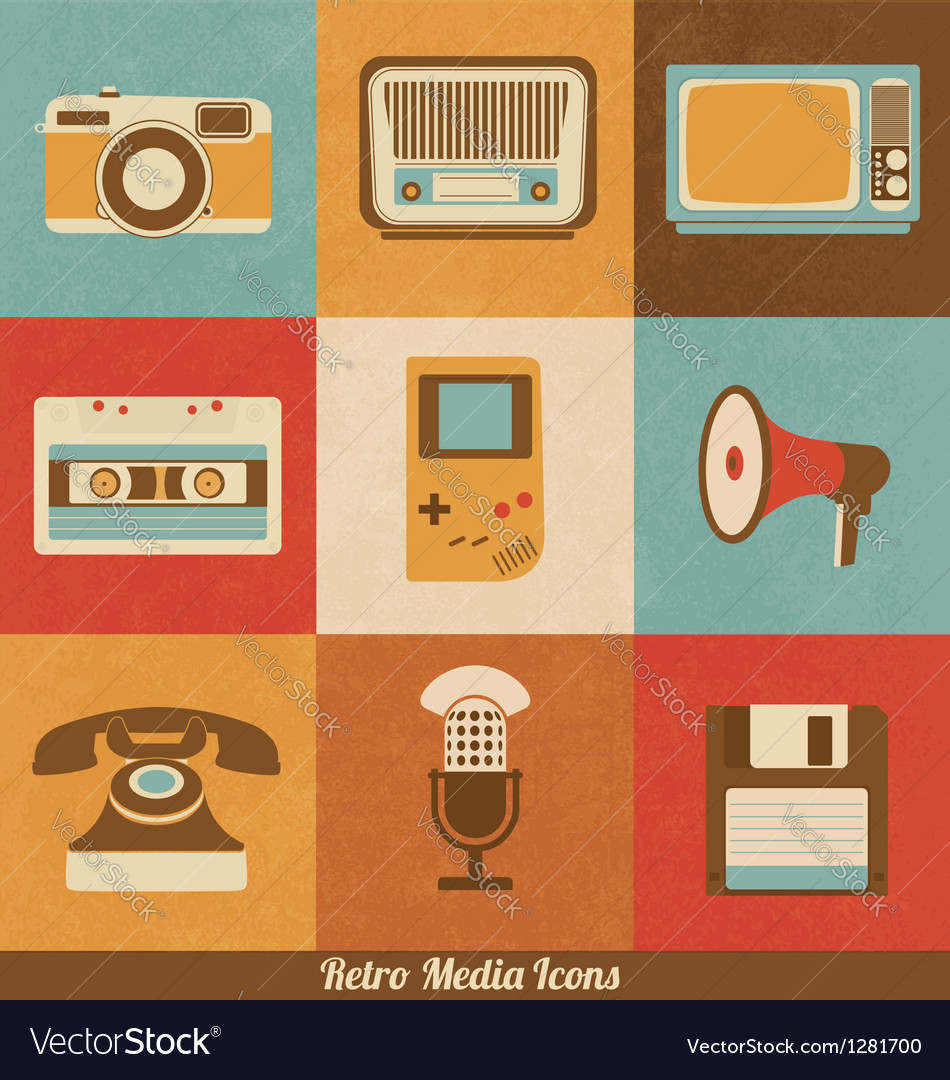 Retro media icons vector | Price: 1 Credit (USD $1)