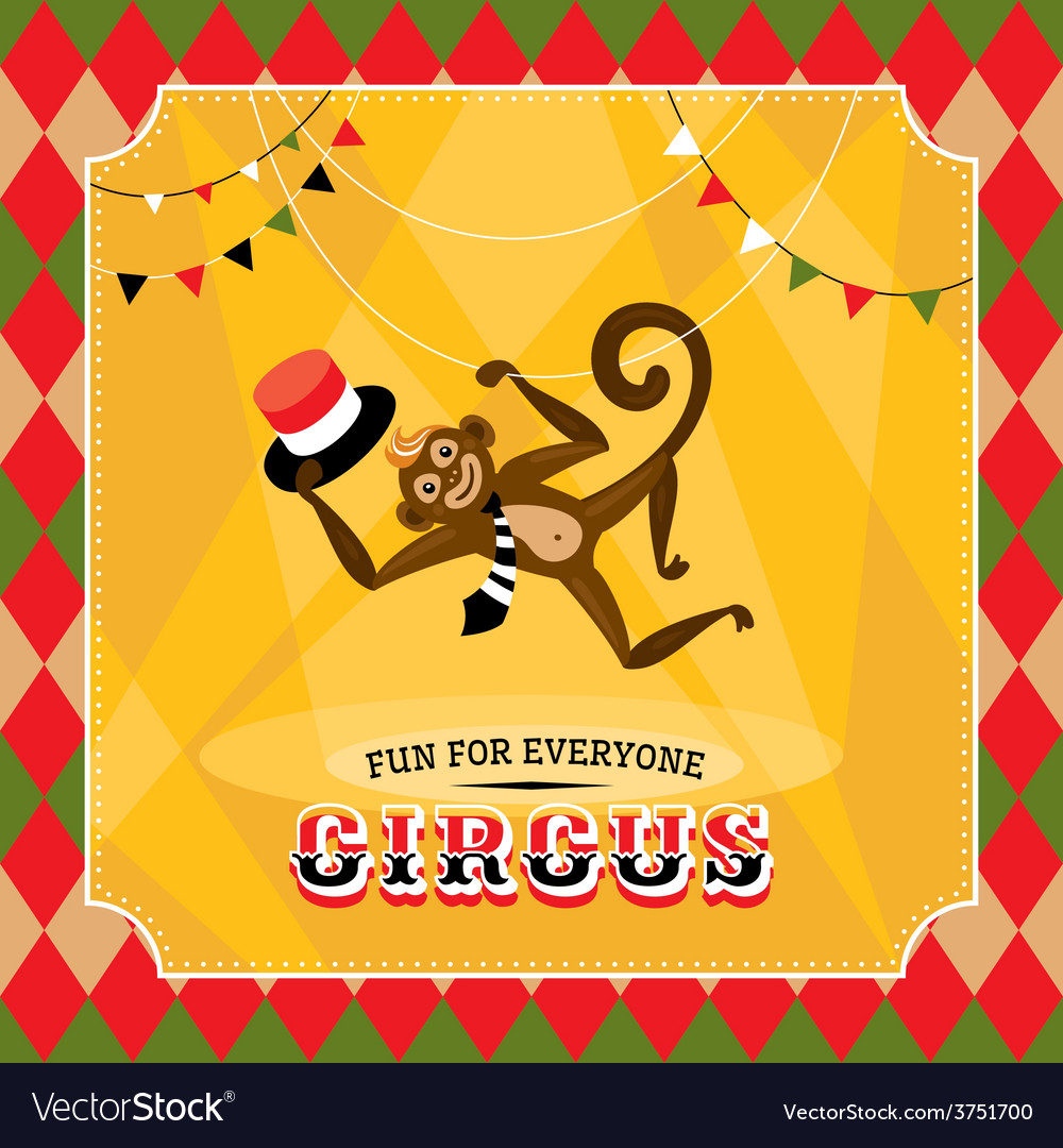 Vintage circus card with a monkey vector | Price: 1 Credit (USD $1)