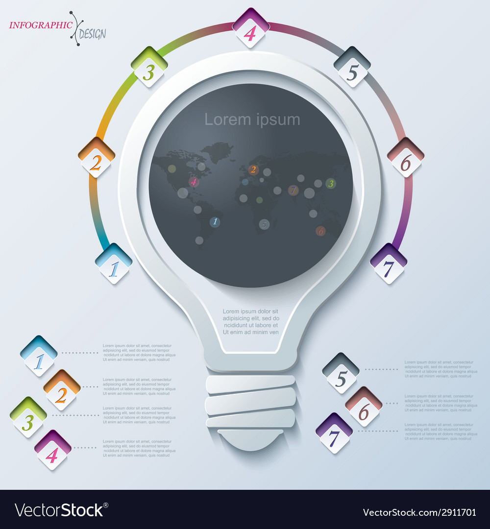 Abstract infographic with light bulb vector | Price: 1 Credit (USD $1)
