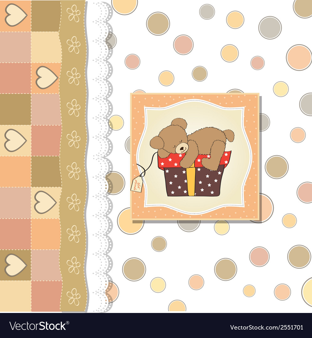 Birthday greeting card with teddy bear and big vector | Price: 1 Credit (USD $1)