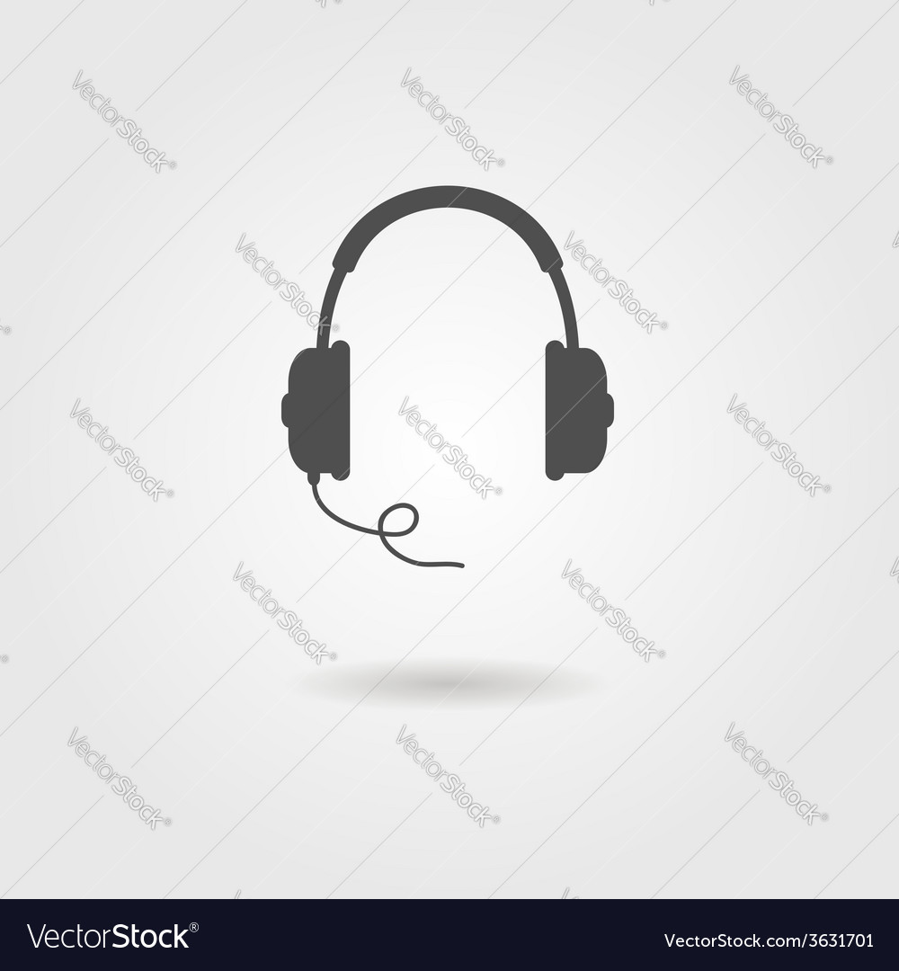 Black headphones icon with shadow vector