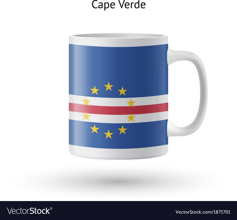 Cape verde flag souvenir mug on white background vector | Price: 1 Credit (USD $1)