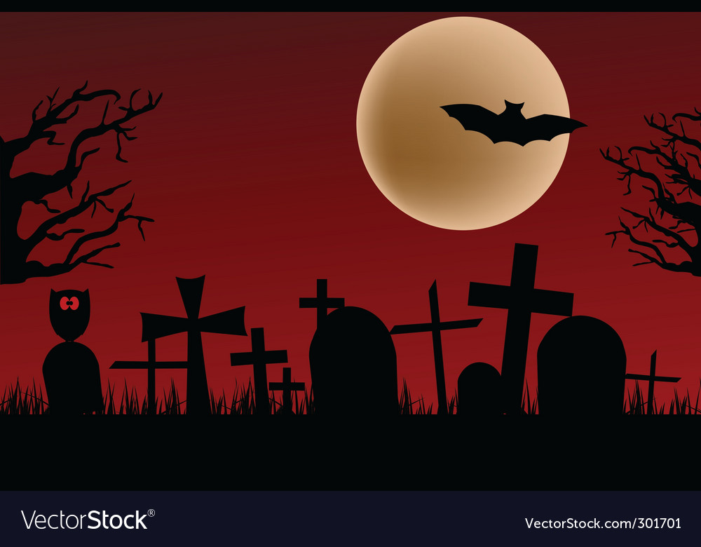 Cemetery silhouette vector | Price: 1 Credit (USD $1)