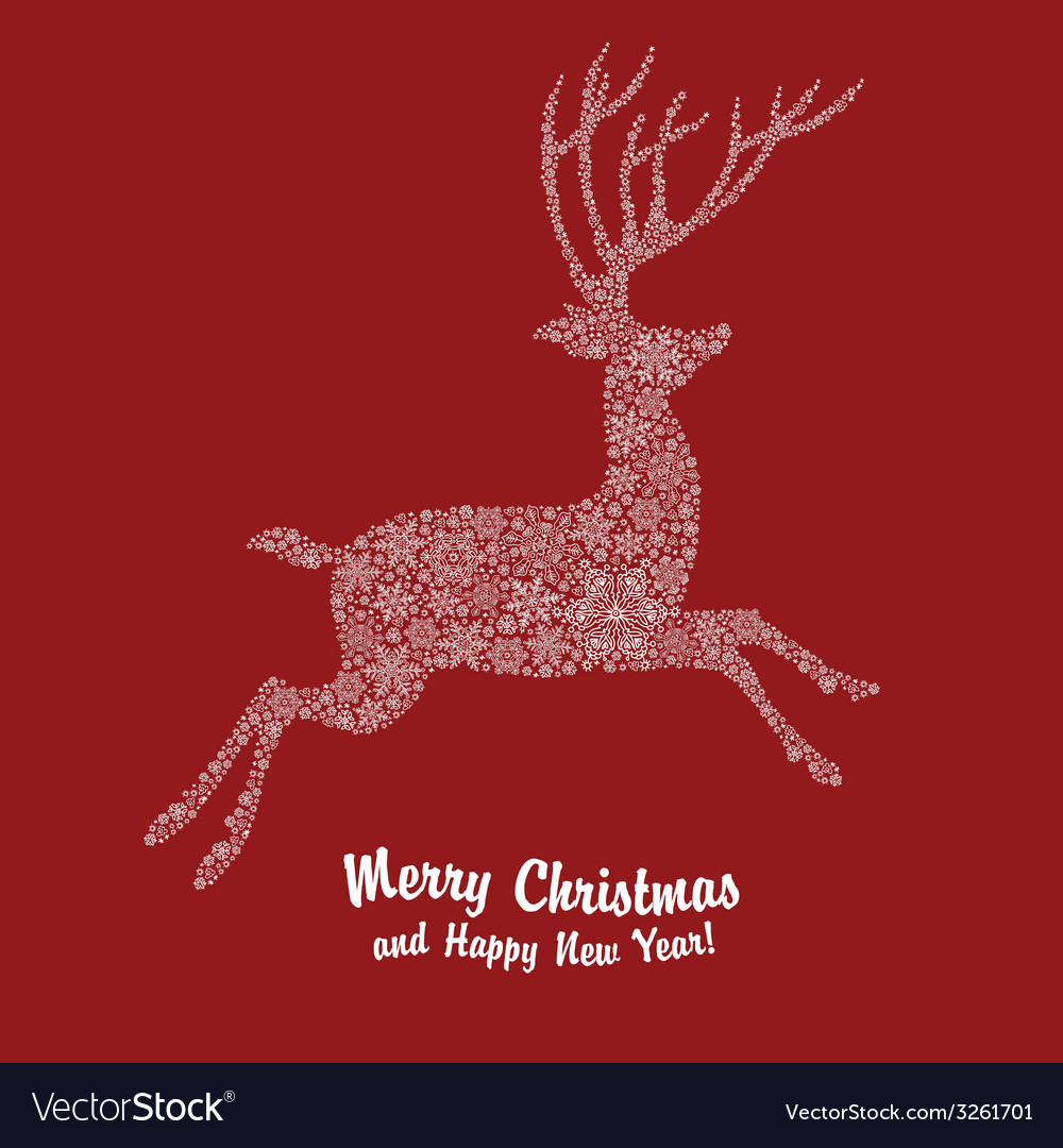 Christmas deer on red vector   Price: 1 Credit (USD $1)