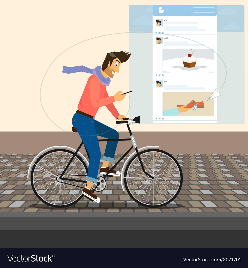 Funny handsome guy rides a bike vector | Price: 1 Credit (USD $1)
