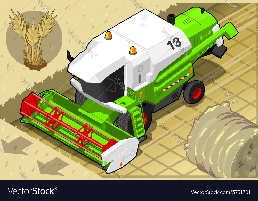 Isometric green thresher at work in front view vector | Price: 3 Credit (USD $3)