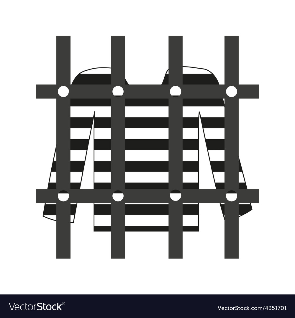 Prisoner shirt in prison grayscale icon eps10 vector | Price: 1 Credit (USD $1)