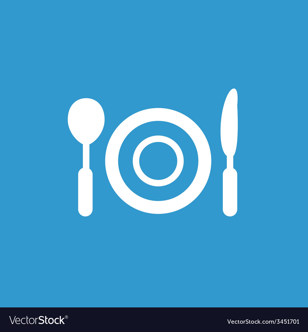 Restaurant icon white on the blue background vector | Price: 1 Credit (USD $1)