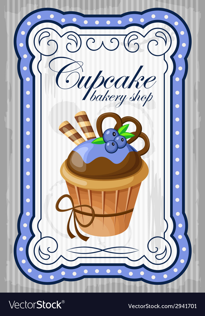 Vintage cupcake poster vector | Price: 1 Credit (USD $1)