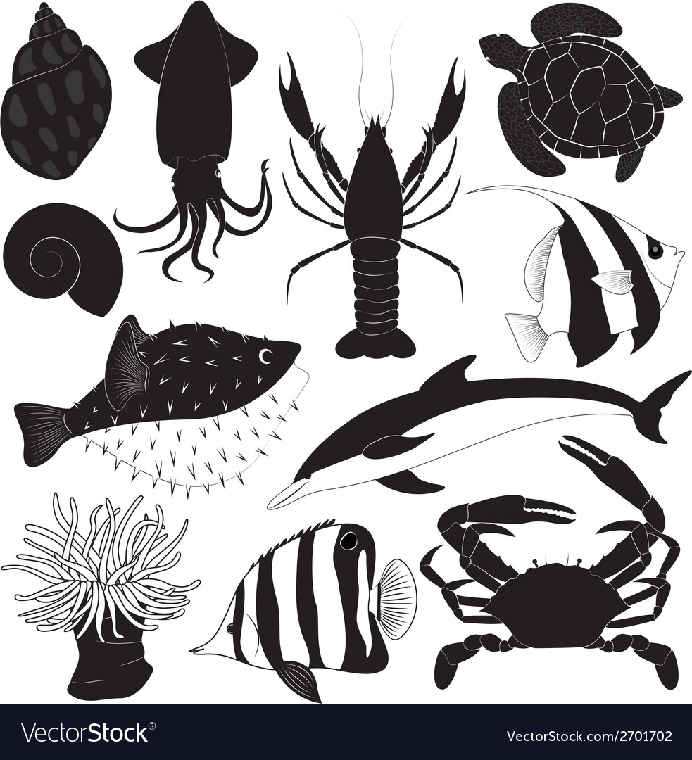 Black sea creature icons vector | Price: 1 Credit (USD $1)