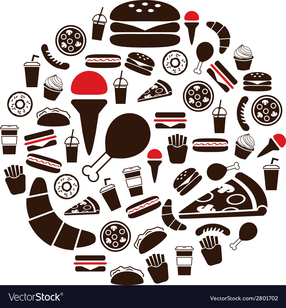 Fast food icons in circle vector | Price: 1 Credit (USD $1)