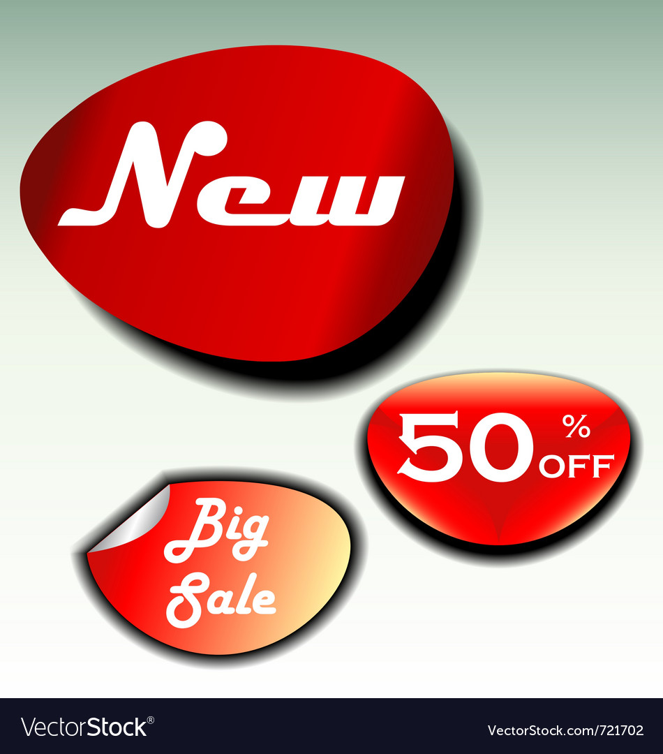 Labels for big sale new and discount vector | Price: 1 Credit (USD $1)