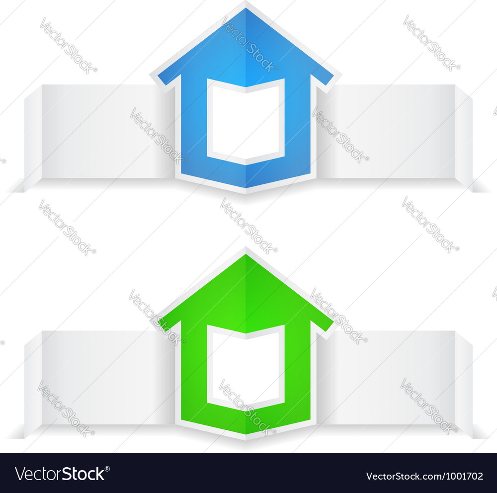 Origami banners with house vector | Price: 1 Credit (USD $1)