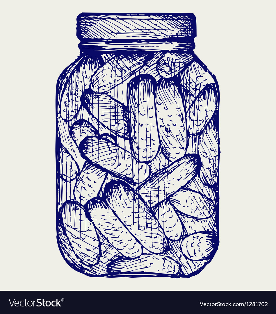 Preserved cucumbers in a jar vector | Price: 1 Credit (USD $1)