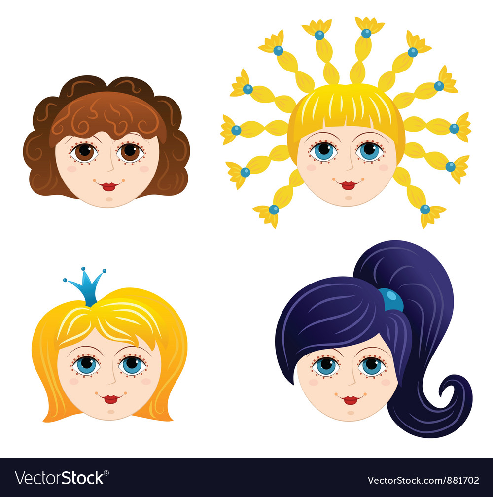 Set of girls faces 1 vector | Price: 1 Credit (USD $1)