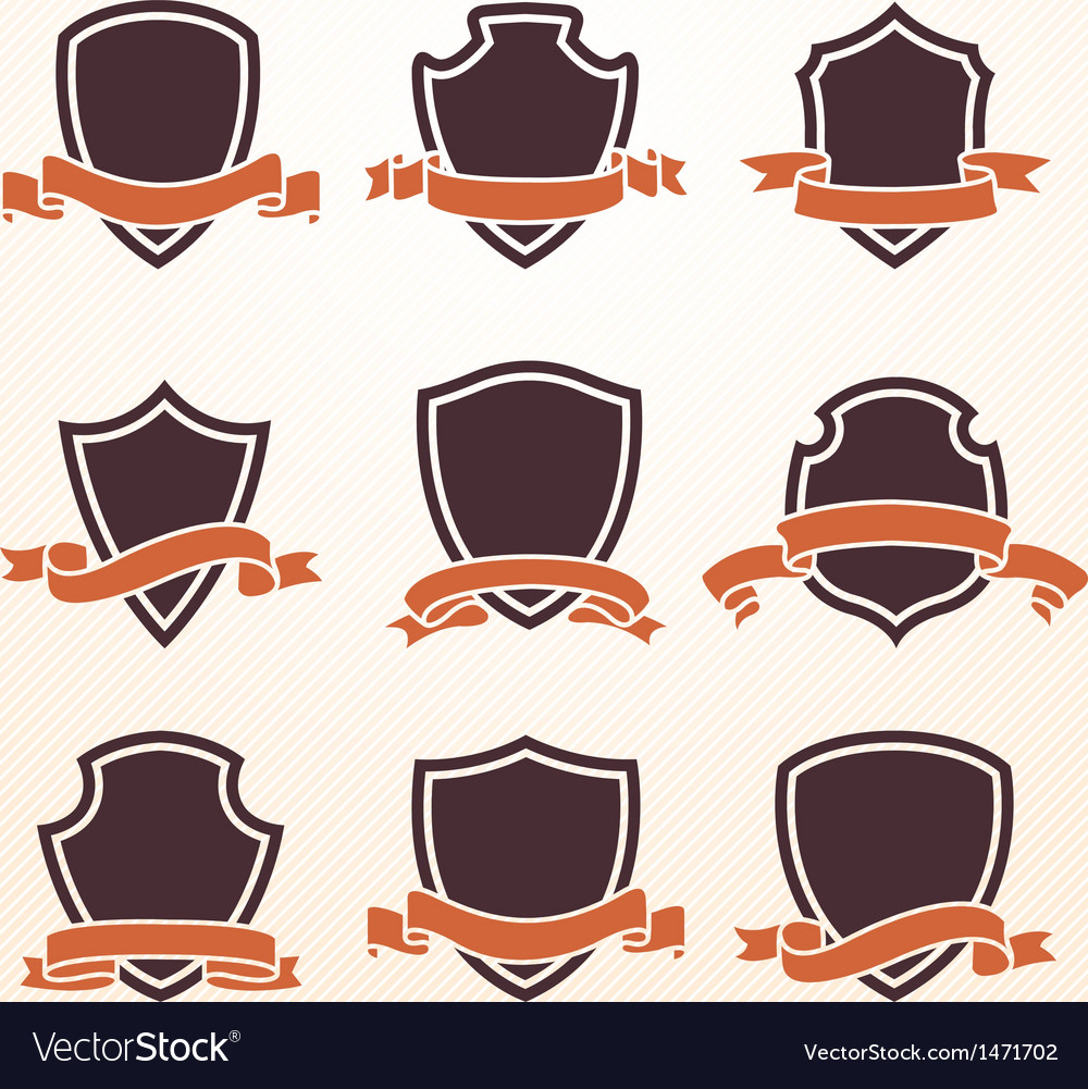 Vintage shield with ribbon set vector