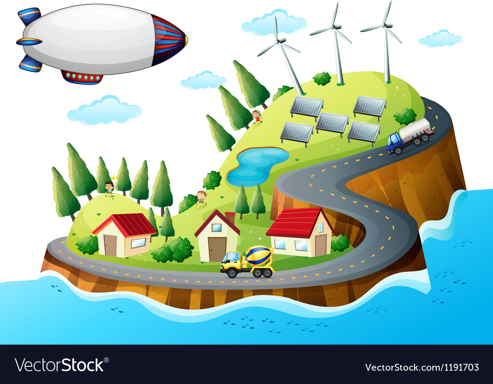 A village with windmills and a spaceship vector | Price: 1 Credit (USD $1)