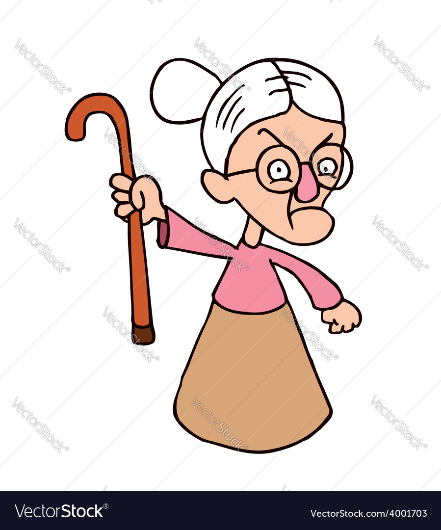 Angry grandmother character vector | Price: 1 Credit (USD $1)