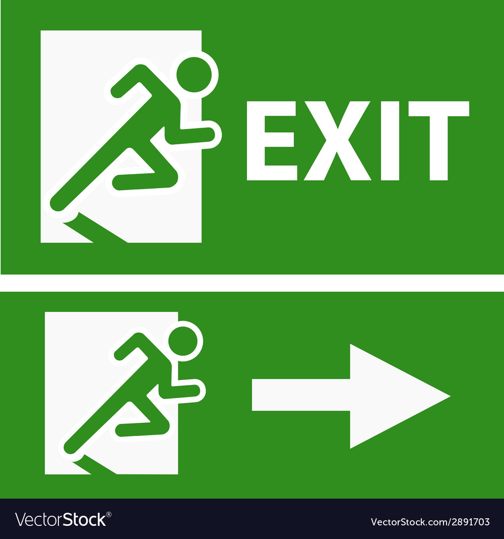 Green exit emergency sign on white vector | Price: 1 Credit (USD $1)