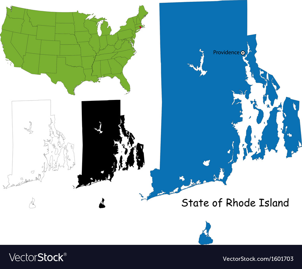 Rhode island map vector | Price: 1 Credit (USD $1)