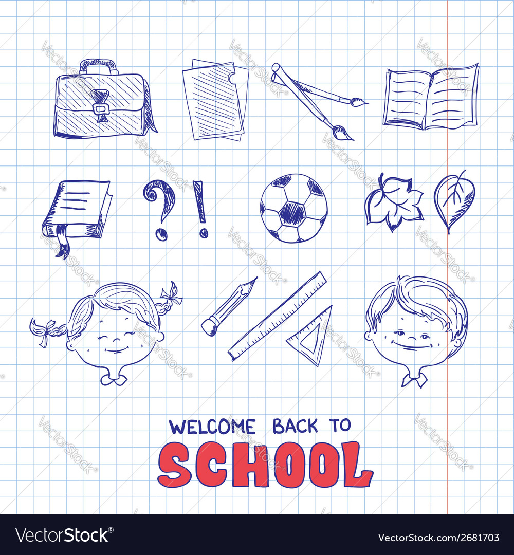 School objects sketch style vector | Price: 1 Credit (USD $1)