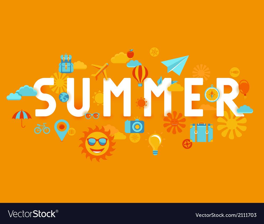 Summer poster in flat style vector | Price: 1 Credit (USD $1)