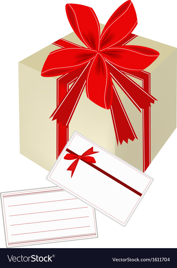 A gift box with red ribbon and blank gift card vector | Price: 1 Credit (USD $1)