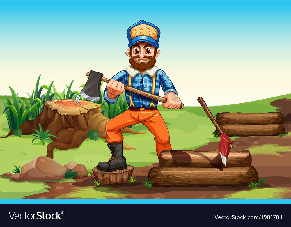 A lumberjack chopping woods vector | Price: 5 Credit (USD $5)