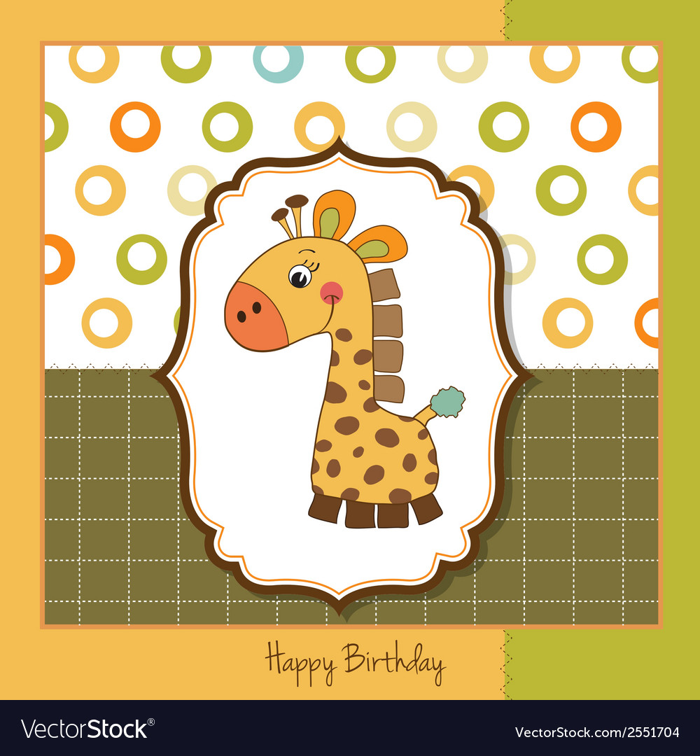 Birthday card with giraffe toy vector | Price: 1 Credit (USD $1)