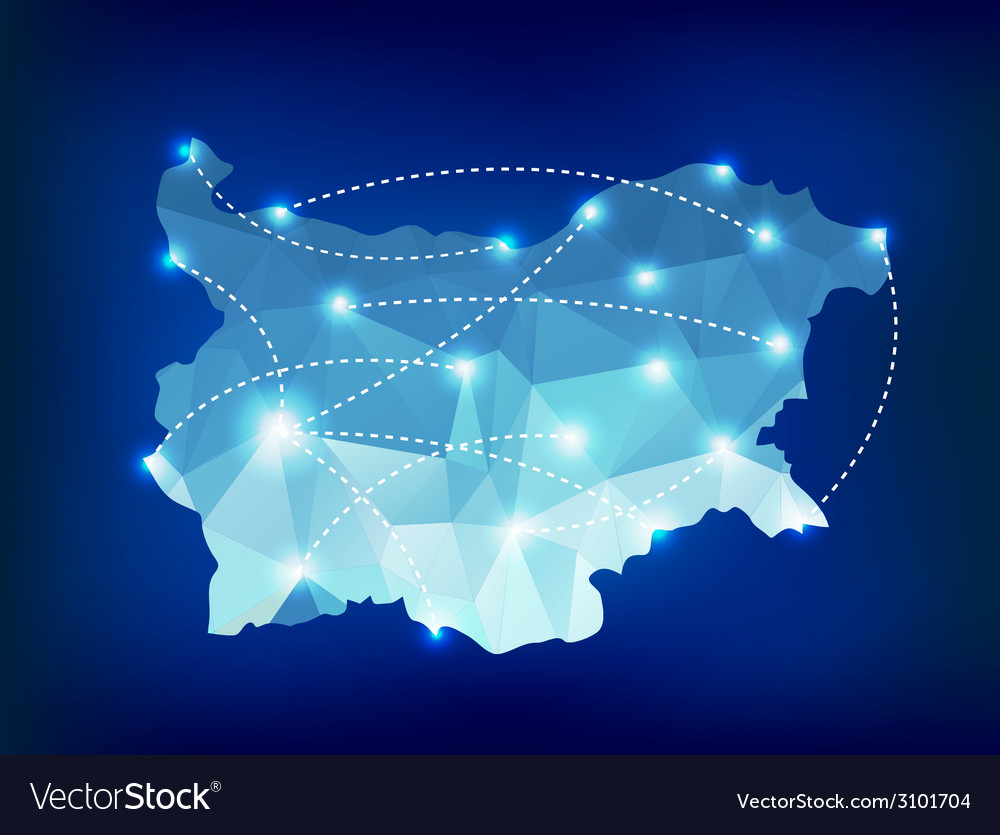Bulgaria country map polygonal with spot lights vector | Price: 1 Credit (USD $1)