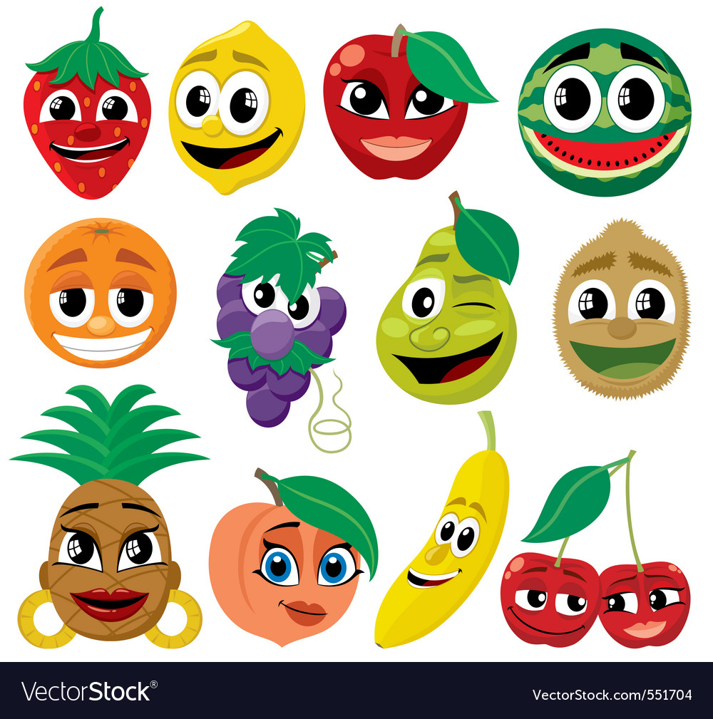 Cartoon fruits vector | Price: 1 Credit (USD $1)