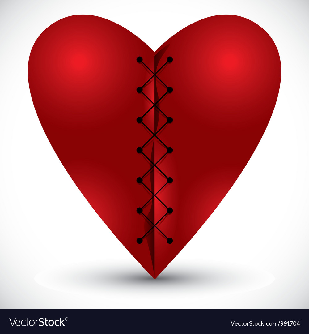 Heart cross linked with a thread vector | Price: 1 Credit (USD $1)