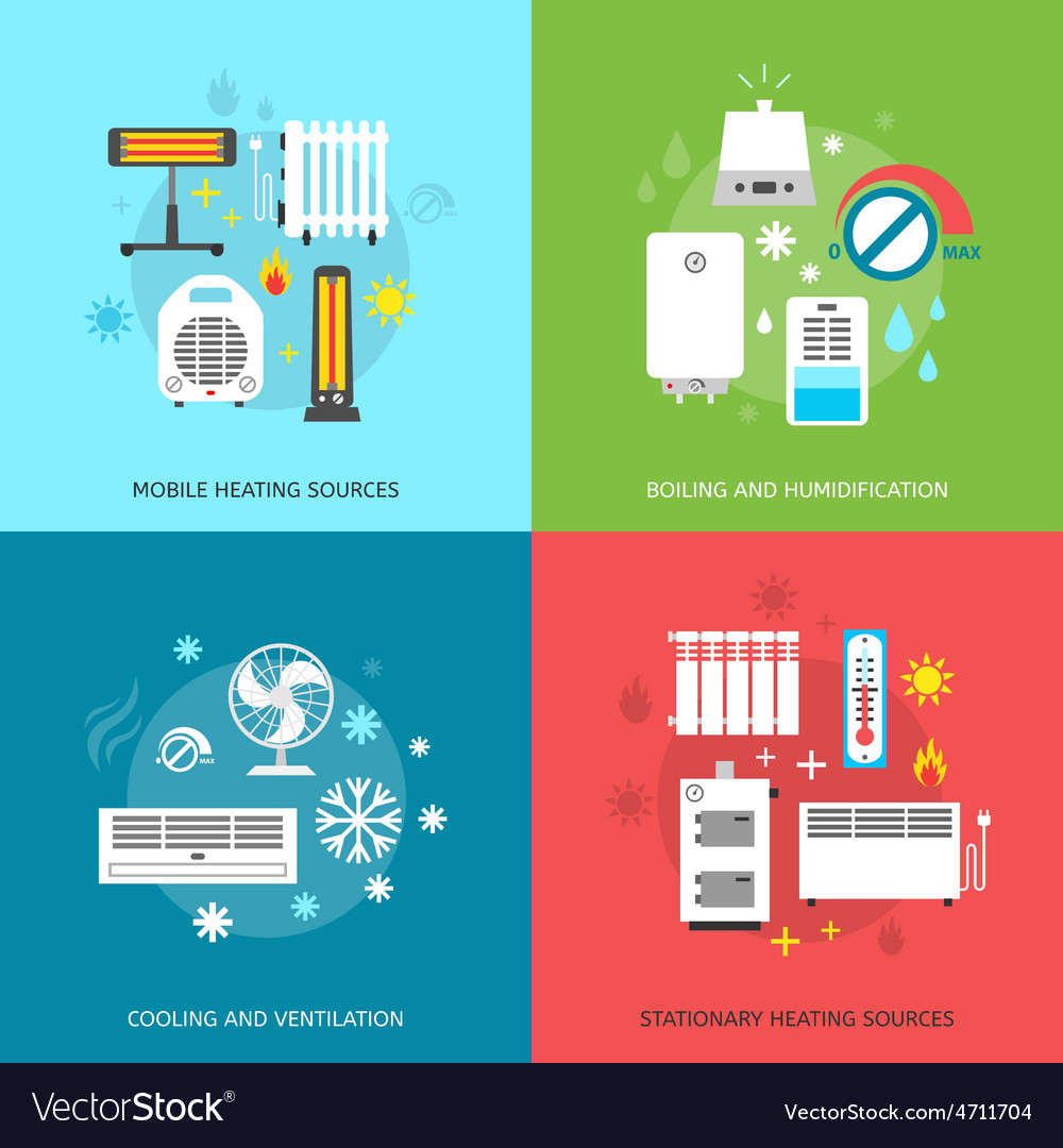 Heatingand conditioning icons set vector | Price: 1 Credit (USD $1)