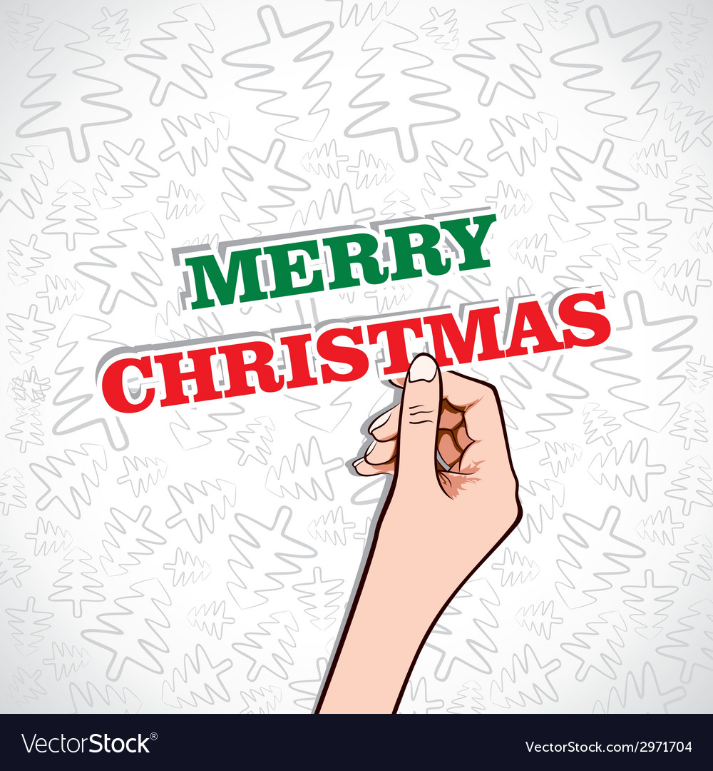 Merry christmas sticker in hand vector | Price: 1 Credit (USD $1)
